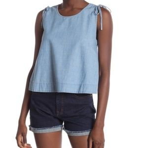 Madewell Crop Swing Tank, Chambray, XS